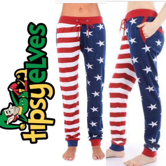 ccdff0ae4c8d Tipsy Elves 4th of July American Flag Pants. M 5a5ee03331a376b50deb9009